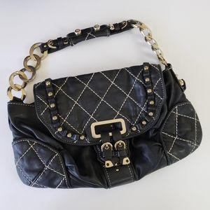 VTG Juicy Couture Black Leather & Gold Bag